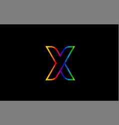 rainbow color colored colorful alphabet letter x vector image