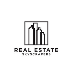 real estate building skyscrapers mono line logo vector image
