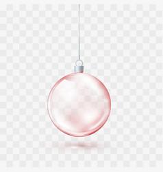 red glass transparent christmas ball xmas glass vector image