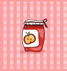 Red jam bottle doodle style vector
