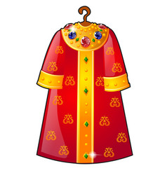 Royal cloak hanging on a hanger decorated with vector