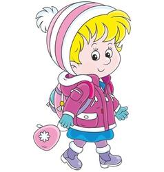 Schoolchild in winter clothes vector image