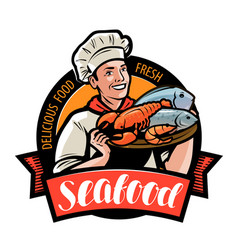 seafood logo or label happy cook holding a tray vector image