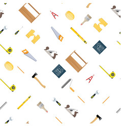 seamless construction tools set pattern vector image