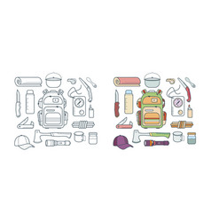 Set hiking and adventure icons vector
