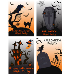 set isolated halloween cards vector image