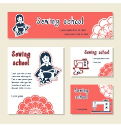 Set of cards template for sewing school tailor vector