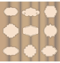 Set of labels on a light brown background vector image