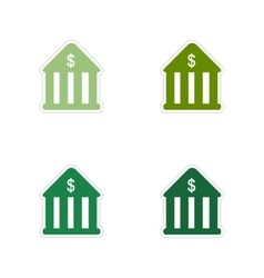 Set of paper stickers on white background bank vector image