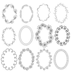 Set with oval frames vector