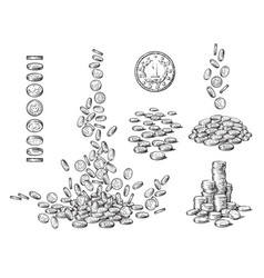Sketch set coins in different positions old vector