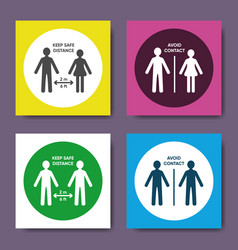 Social distancing simple round icons set vector