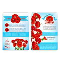 Spring floral poster template with flowers vector