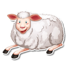 sticker design with cute sheep cartoon character vector image