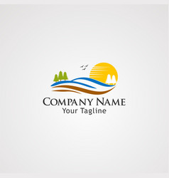 sun land logo icon element and template for vector image