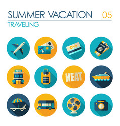 Traveling flat icon set summer vacation vector