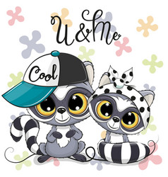 Two cute cartoon raccoons boy and girl with cap vector