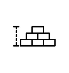 wall brick architecture icon line style vector image
