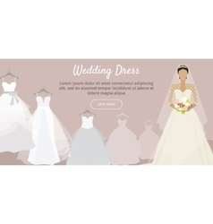 Wedding Dress Web Banner Fashionable Bride vector