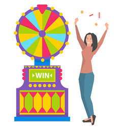 Win fortune lucky player game machine vector