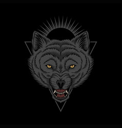 Wolf head angry vector