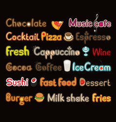 writing and symbols on subject of food and drink vector image