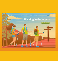 young people nordic walking in woods flat 2d vector image