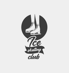 badge template with ice skates vector image vector image