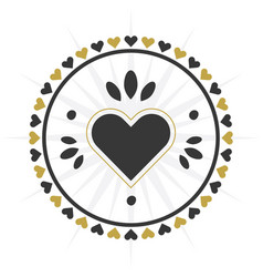 black and golden circle heart border icon vector image vector image