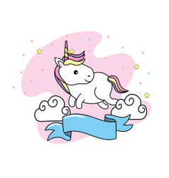 cute unicorn with clouds and ribbon design vector image