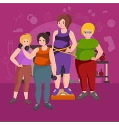 Fat womans young pretty cartoon style fitness vector