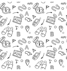 Navigation hand drawn doodles seamless pattern vector image vector image
