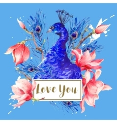 Vintage peacock with flowers magnolia vector