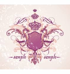 vintage shield and crown vector image vector image