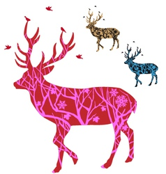 Christmas deer with birds vector image vector image