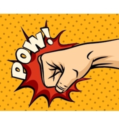 Fist hitting fist punching in pop art style vector image
