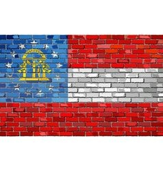 Flag of Georgia on a brick wall vector image vector image