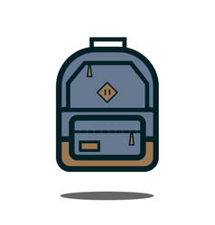 gray backpack isolated backpack on white vector image vector image