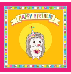 hedgehod birthday frame vector image