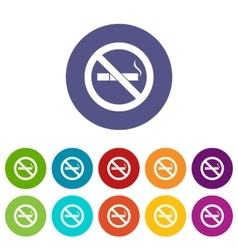No smoking sign set icons vector image