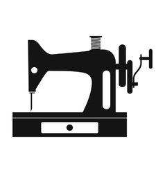 Black old sewing machine simple icon vector image