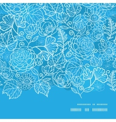 blue field floral texture horizontal frame vector image vector image