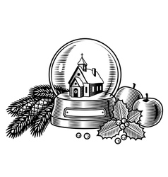 Christmas still life black and white vector image vector image