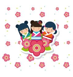 japanese girls design vector image