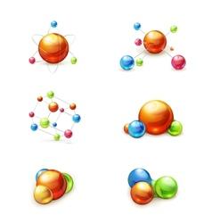Molecule icon set vector