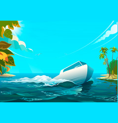 motorboat in the ocean of vector image vector image
