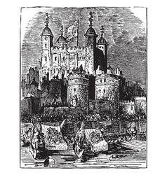 procession to the tower of london vintage vector image vector image