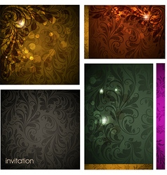 Seamless floral background set vector