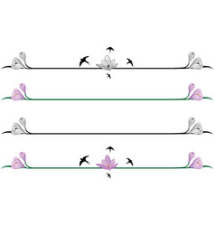 set of borders with crocuses vector image vector image