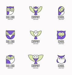 set of colorful logotypes with owls vector image vector image